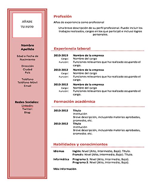 Plantilla Curriculum Vitae Word Basico