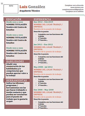Plantilla Curriculum Vitae Word Funcional